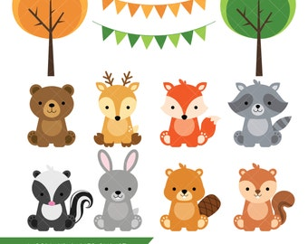 Woodland Baby Animals Clipart / Forest Animal Clipart / Woodland Baby Shower Printable