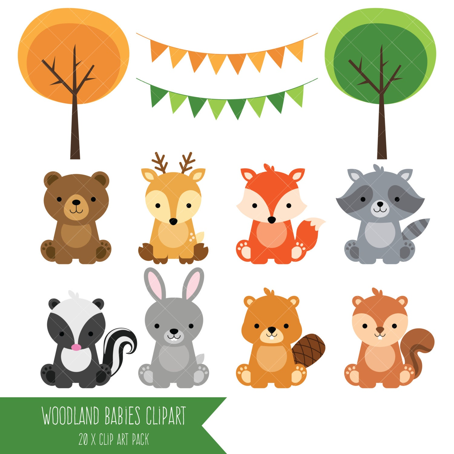 Woodland Baby Animals Clipart / Forest Animal Clipart /