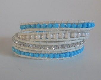 Leather Wrap Bracelet, White Leather Wrap Bracelet with Blue, Clear and White Beads
