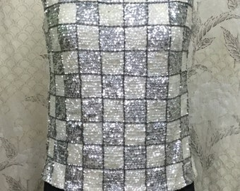 Vintage 1960s Silver and White Sequin Vest