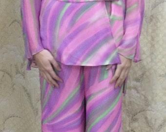 Vintage 1970s Mod Pantsuit/Pink Chiffon Pantsuuit