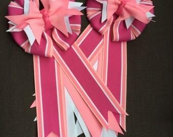 Pink Stripe Equestrian Hair Bow/Show Bow Set