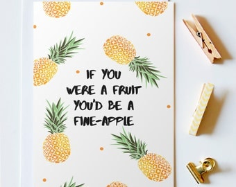 You'd Be A Fine-Apple Greeting Card, Long Distance Boyfriend Gift, Greeting Cards, Long Distance Relationship, Boyfriend Gift, LDR Cards
