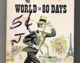 """Vintage paper-back, classic, adventure novel, """"Around the World in 80 Days"""", by Jules Verne, published by Airmont Books, in 1963."""