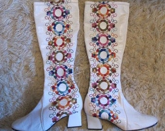 Go Go Boots Knee High - 5.5 US - Embroidered Rainbow White Vegan Leather Shiny - 1960s Sixties