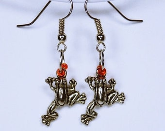 Earrings frog - frog with Orange pearl - earrings