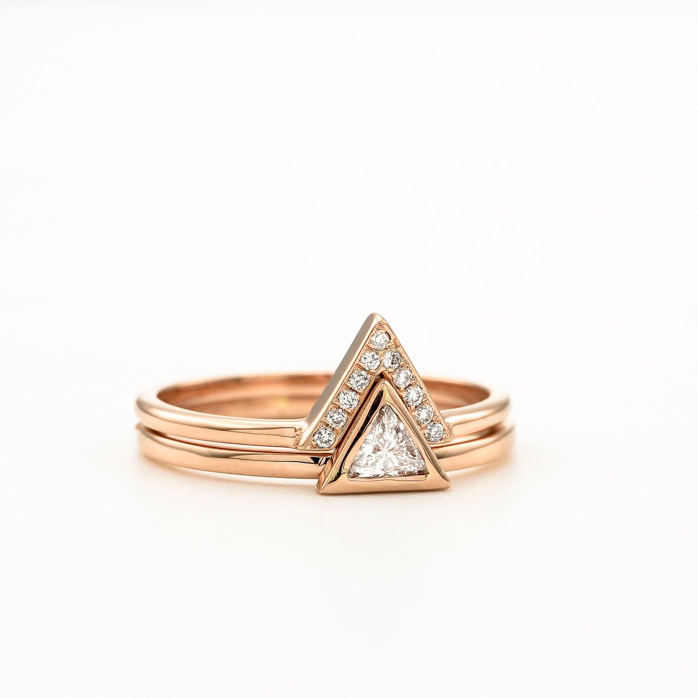 Bridal Ring Set Trillion Engagement Triangle Diamond Wedding By Kat Design