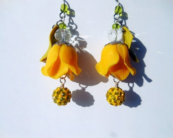 Earrings Yellow Tulips Handmade made of polymer clay, Jewelry Flower Earrings, Earrings with crystals, Gift for women / girls