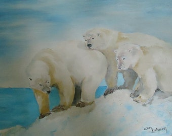 Oil Painting Arctic Polar Bears at the Edge of Packed Ice in a Seascape Where Sea Meets Sky Mid-Century c. 1960-80 Signed L/R Wm Isham