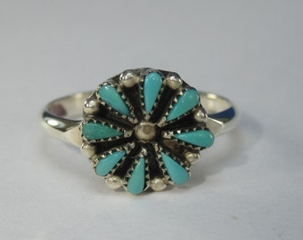 Vintage Native American Sterling Silver Turquoise Ring Size 5