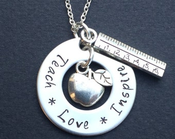 Teach Love Inspire Hand Stamped Teacher Necklace -Teacher Appreciation Gift - Hand Stamped Jewelry - Personalized - Stainless steel Necklace