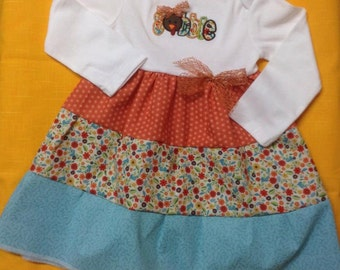 Thanksgiving Ruffled Dress Size 18 mo.