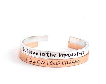 Personalized cuff bracelet, inspirational cuff bracelet, handstamped bracelet, custom bracelet, stacking bracelet, quote bracelet