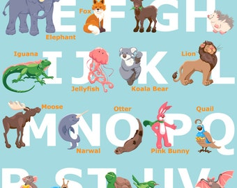 Alphabet Animals - 13x19 inch Print