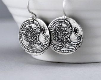 Dangle Earrings, Sterling Silver Dangles, Paisley Dangle Earrings, Paisley Jewelry, Hippie Earrings, Boho Earrings, Gypsy Earrings