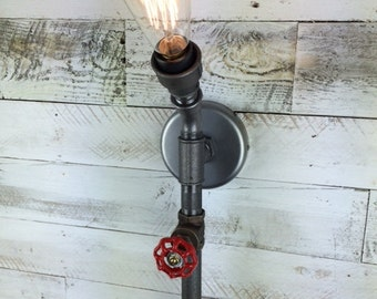 Bridlington : SteamPunk Torch Wall Light, Bespoke, Retro, Vintage, Design for E27 Edison Bulb, industrial, pipe light, metal wall light