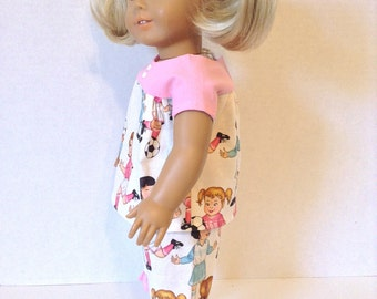 18 Inch Doll Pajamas, Light Weight Cotton , Summer Nightwear