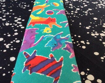 Playful Paradise~Lands In~Vintage Necktie~100% Cotton~Turquoise~Rainbow~Cats