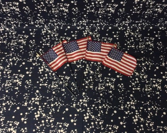 """USA~American Flags~Set of 4~4x6""""~c.1990~Gold Tip"""