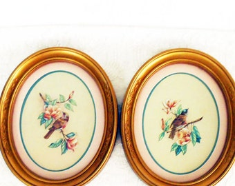 Pr Vintage Framed Bird Prints,2 Watercolor Bird Prints,Bird Dogwood Prints,Gold Oval Frames,Gold Resin Frames,Shabby Chic Frames,Bird Prints