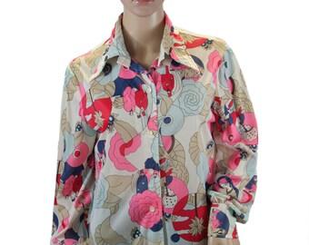 1970s Polyester Blouse  - Art Deco Printed, Long Sleeve Top - Disco Fashion - Stockton Brand