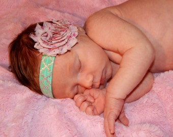 Pink Patterned Shabby Flower Headband