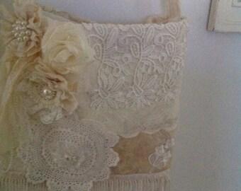 Soft cream lace shoulder bag
