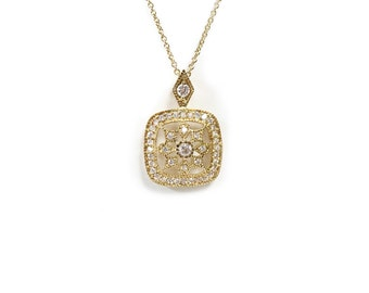Elegant Antique Necklace with Cubic Zirconia (B54)