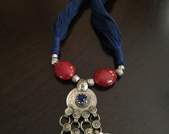 Indian jewelry/indian thread necklace/kuchi necklace/afghani pendant/tribal necklace/gypsy/oxidized silver necklace/ kuchi pendant/ banjara