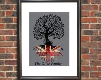 British roots personalized family tree print, Union Jack print, personalized Union flag gift, British decor wall art, British gift