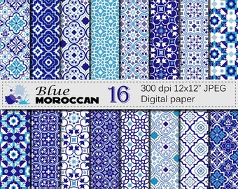 Blue Moroccan Digital Paper Set,  Blue Ornamental Scrapbook Digital Papers, Ethnic, Moroccan Instant Digital Download