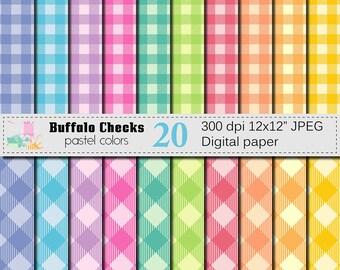Buffalo Checks Digital Paper Set, Buffalo Plaid Pastel Digital Scrapbook papers, Pastel Lumberjack Checks Digital Paper, Instant Download