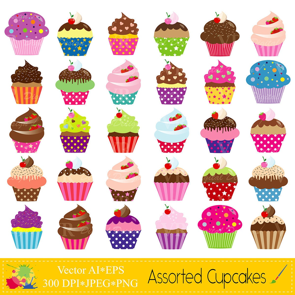 Clip Art Clip Art Cupcake cupcake clip art etsy assorted cupcakes set colorful instant digital download vector illustrations scrapbooking clipart