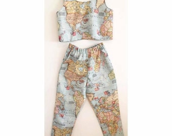 Map patterned crop top and high waisted trousers two piece coord coordinate