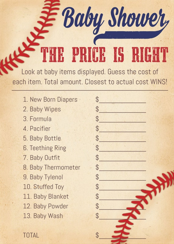 baby shower games price is right by weebabyshower on etsy