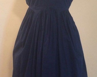 Navy Cotton 1940s Cutout Bust Scallop Detail Dress by Gilead Vintage Size 34