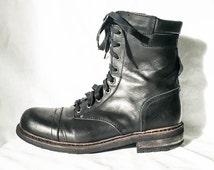 Men's black combat boots- Men's boots-size 41- leather lace up combat boots- Men's winter boots- Men's work boots