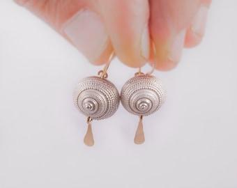 sterling silver earrings,seashell earrings,gold-filled silver,delicate silver earrings,dangle silver earrings,unoque silver earrings