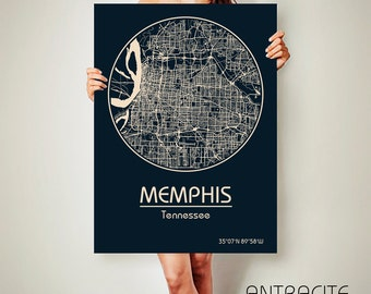 MEMPHIS Tennessee CANVAS Map Memphis Tennessee Poster City Map Memphis Tennessee Art Print Memphis Tennessee