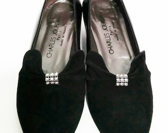 Black Glace Leather and Suede flats with decorative Silver Balls by Charles Jourdan