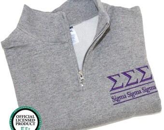 Sigma Sigma Sigma Quarter Zip Pullover, Tri Sigma cadet fleece pullover, Sigma Sigma Sigma Sorority Letters Pullover, Greek Apparel Tri Sigs