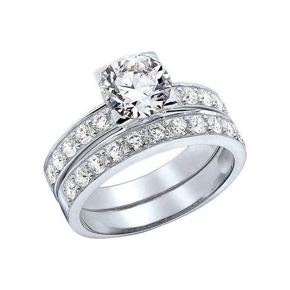 14K Solid White Gold Lab Created Diamond Ring perfect by KANTILAKI
