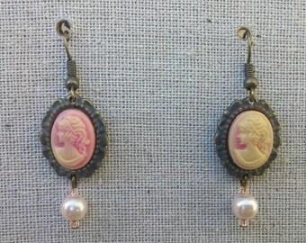 Pink Cameo Earrings