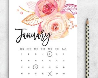 SALE Printable Calendar 2017, Floral Watercolor Calendar Printable Planner 2017 PDF, A4 Letter A5 Calendar Printable Wall Calendar Flower