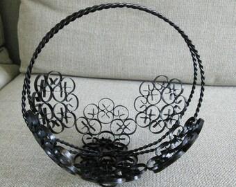 Vintage Black Wrought Iron Basket