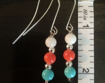 Turquoise, Coral and White Drop Earrings