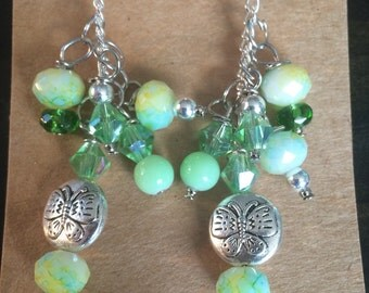 Peridot and Mint Green Dangle Earrings with Butterflies.