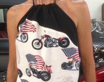 Harley Davidson Motorcycle 1970's Halter Top Shirt Chopper Halter Top