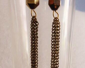 Antique Bronze Chain Earrings