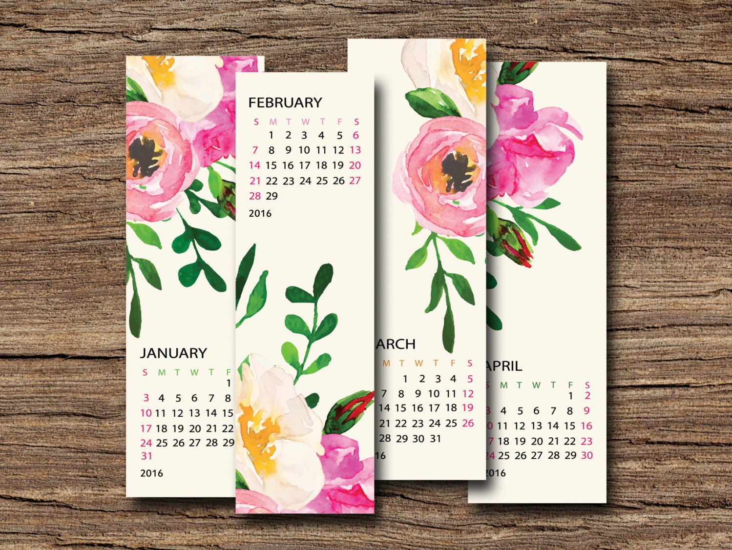 Calendar Bookmark : Planner calendar printable bookmark monthly desk